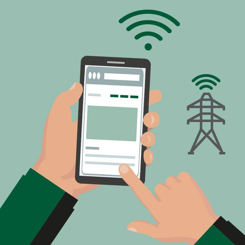Mobiltelefon bruker mobilt nettverk illustrasjon