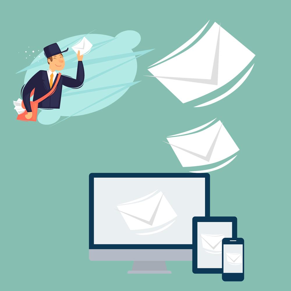 Glad postmann holder brev i luften.  Datamaskin, nettbrett og mobiltelefon viser brev på skjermen. Illustrasjon.