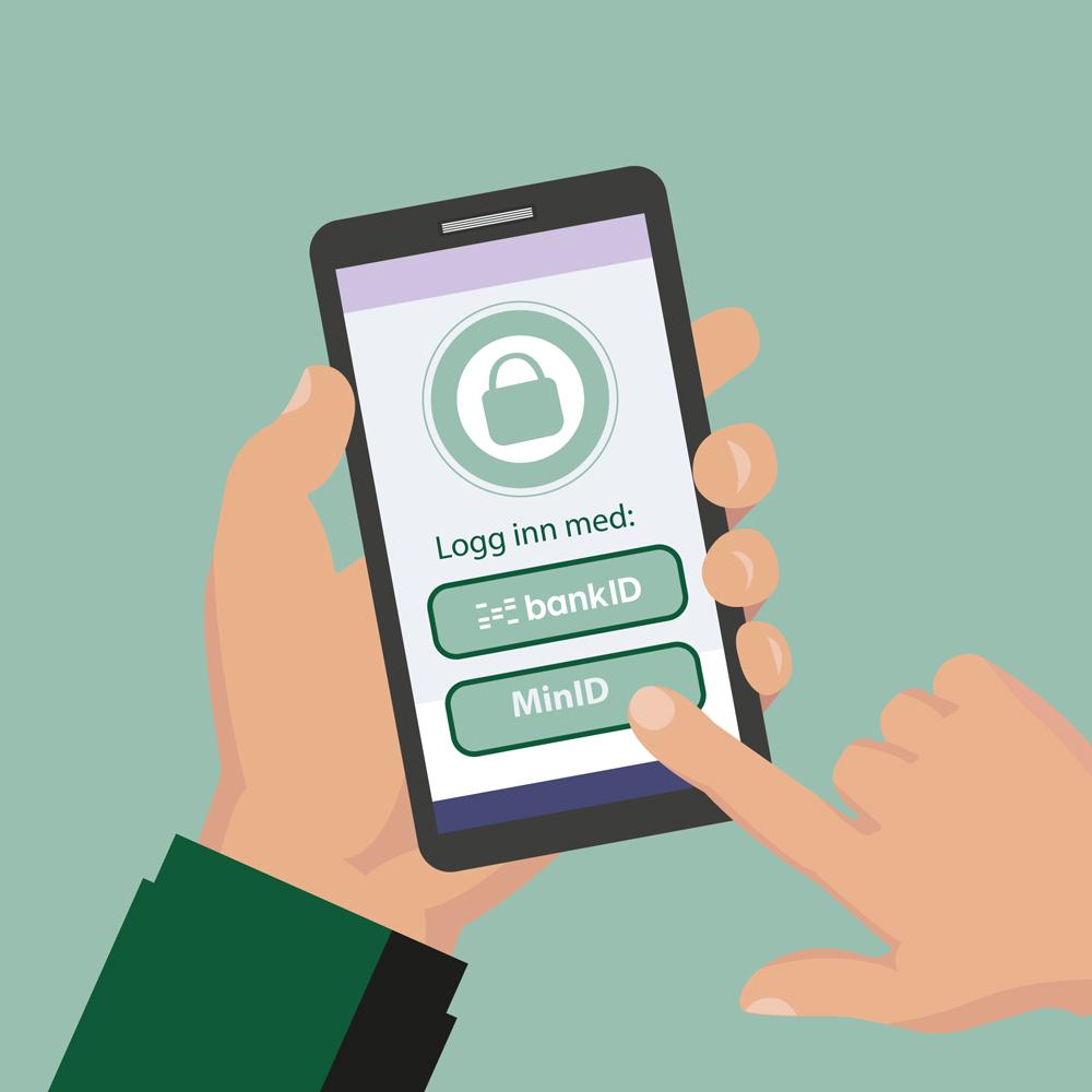 Velger mellom Bank ID og Min ID på mobiltelefonen. Illustrasjon.