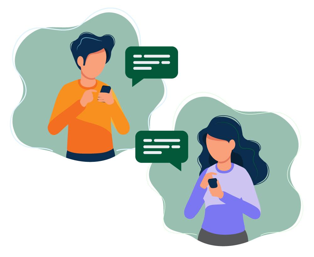 To personer som sender meldinger til hverandre, illustrasjon.