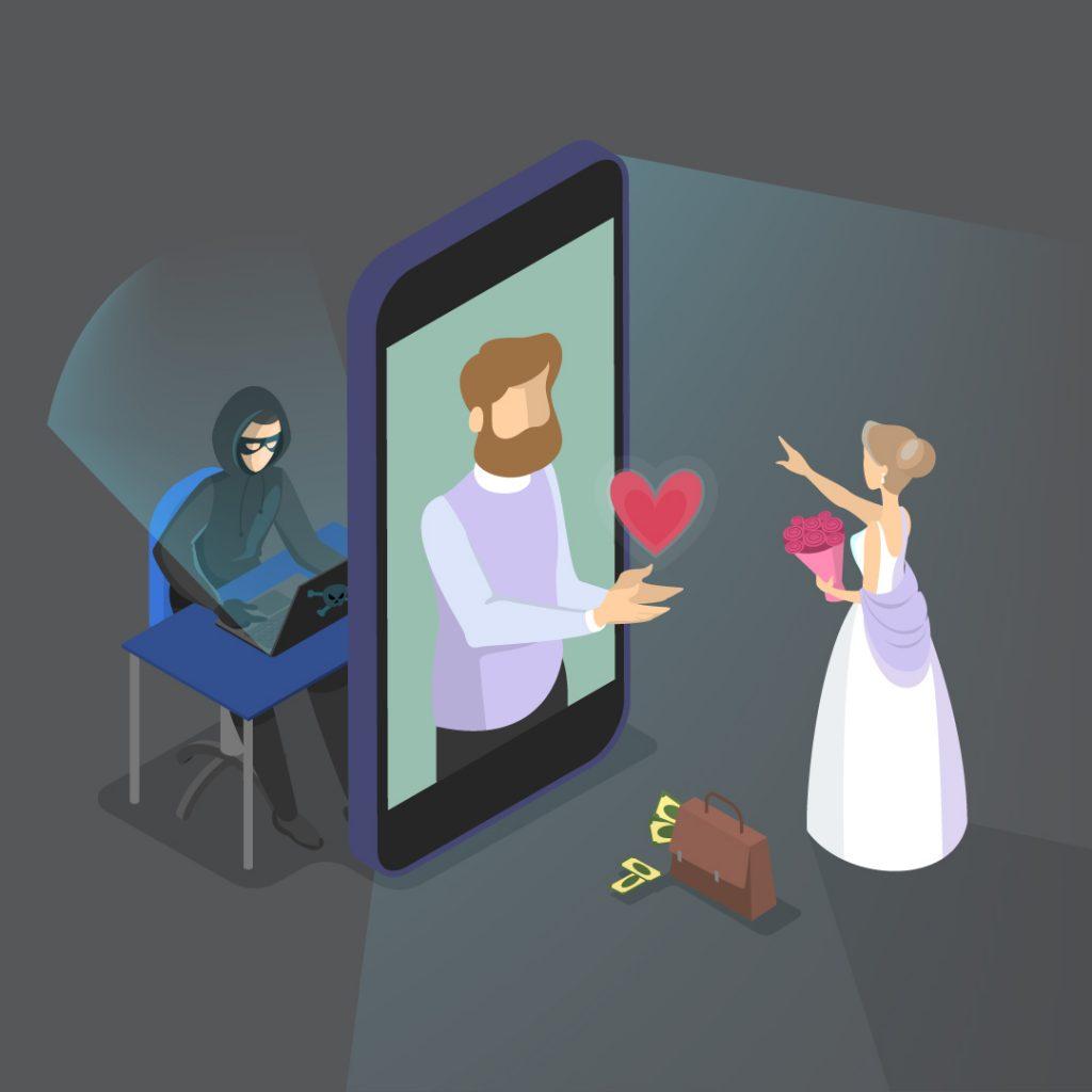På mobilskjermen hyggelig mann, bak skjermen en svindler som utgir seg for å være hyggelig mann.  Dame i brudekjole som ser på skjermen er forelsket i hyggelig mann. Illustrasjon.