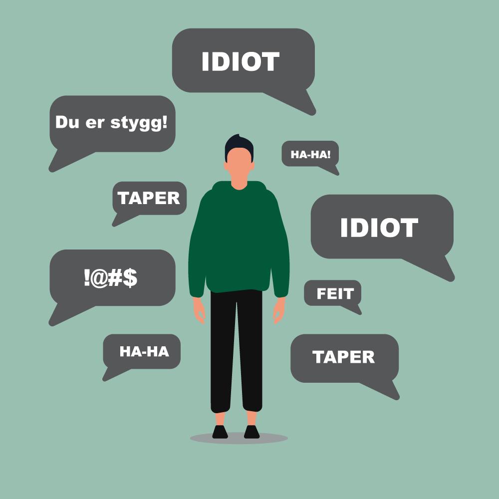 Gutt mottar stygge kommentarer; Idiot, du er stygg, taper, ha ha, feit. Illustrasjon.