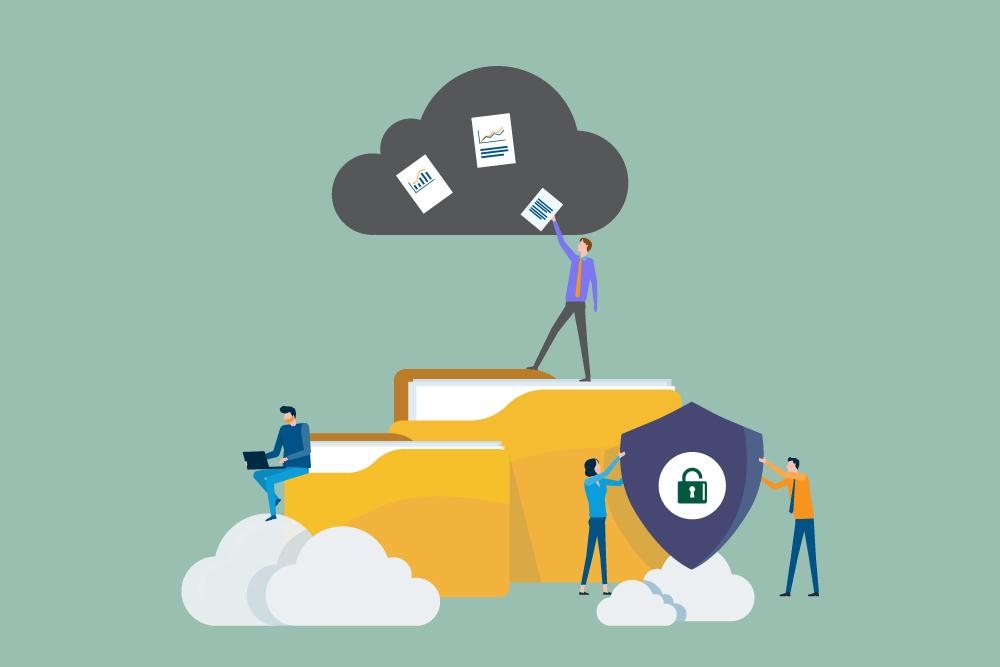 To mapper, flere skyer og personer som plasserer dokumentet i sky. Illustrasjon.