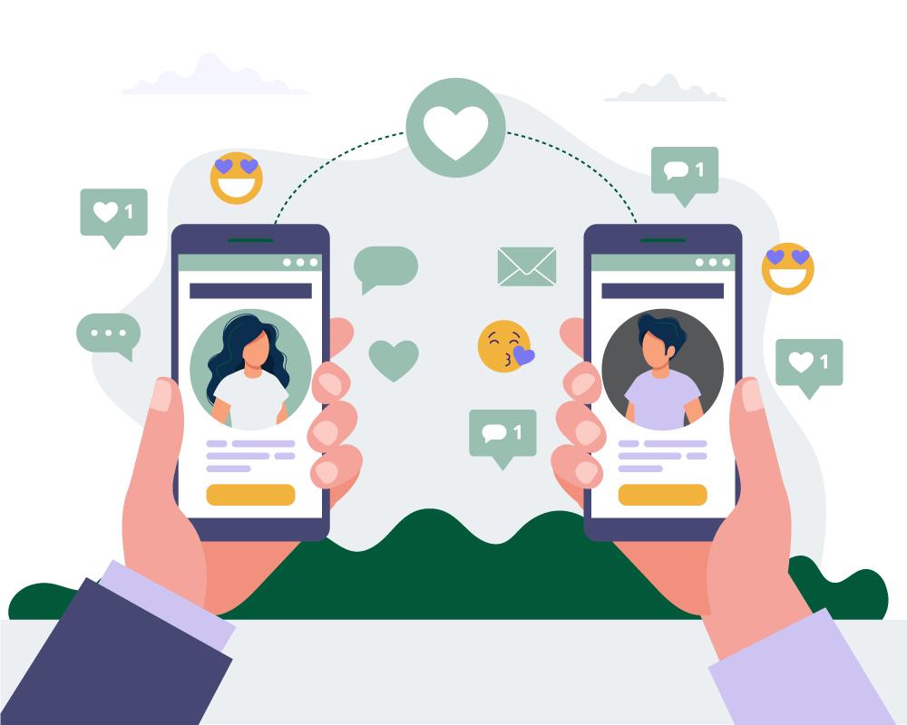 To hender som holder hver sin mobiltelefon med profilsiden på skjermen. Illustrasjon på vennskap i sosiale medier.